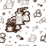 Tazza di caffè, smerigliatrice e fagioli del modello Immagine Stock