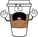 Tazza di caffè spaventata fumetto Fotografia Stock