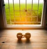 Tazza di caffè su legno Fotografie Stock