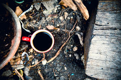 Tazza di caffè su legno Fotografie Stock Libere da Diritti