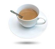 Tazza di caffè su priorità bassa bianca fotografia stock