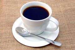 Tazza di caffè su tela da imballaggio Fotografia Stock