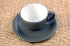 Tazza di caffè su tela da imballaggio Fotografie Stock