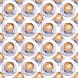 Tazza di caffè su un piattino e su due bustine di zucchero Reticolo senza giunte Caffè del caffè espresso Fondo del caffè Immagini Stock Libere da Diritti