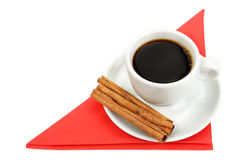 Tazza di caffè su un tovagliolo rosso Fotografie Stock