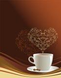Tazza di caffè su una priorità bassa marrone Immagine Stock Libera da Diritti