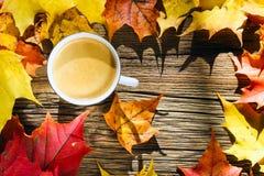 Tazza di caffè sui precedenti di legno con le foglie di autunno Immagini Stock Libere da Diritti