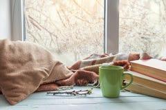 Tazza di caffè sul davanzale della finestra Immagine Stock Libera da Diritti
