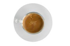 Tazza di caffè sul fondo dell'isolato Fotografia Stock