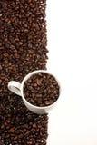 Tazza di caffè sul nero Fotografia Stock