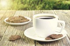 Tazza di caffè sull'fagioli Fondo dai chicchi di caffè Tazza bianca Tazza piena Agricoltura e seme Indicatore luminoso naturale Fotografie Stock Libere da Diritti