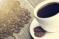 Tazza di caffè sull'fagioli Fondo dai chicchi di caffè Tazza bianca Tazza piena Agricoltura e seme Indicatore luminoso naturale Fotografia Stock Libera da Diritti