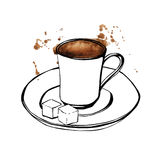 Tazza di caffè turco dell'acquerello di vettore Fotografia Stock