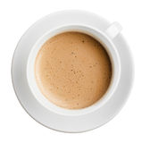Tazza di caffè con schiuma isolata, tutta la vista a fuoco e superiore Fotografia Stock
