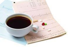 Tazza di caffè e pils Fotografia Stock