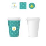 Tazza di carta chiusa per caffè con struttura Fotografia Stock