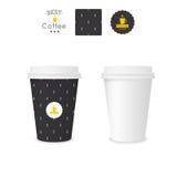 Tazza di carta chiusa per caffè con struttura illustrazione di stock