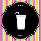 Tazza di carta con l'icona della cannuccia Fotografia Stock Libera da Diritti