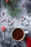 Tazza di cioccolata calda o di cacao e varietà di caramelle del dolce di natale Immagini Stock Libere da Diritti