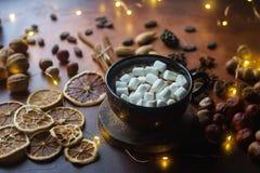 Tazza di cioccolata calda o di cacao tradizionale con la caramella gommosa e molle, la cannella, i dadi e le spezie sulla tavola  Fotografia Stock Libera da Diritti