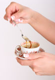 Tazza di coffe a disposizione Fotografie Stock