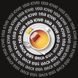 Tazza di cuore in tè con la bustina di tè Immagini Stock