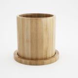 Tazza di legno della rappresentazione 3d Immagine Stock