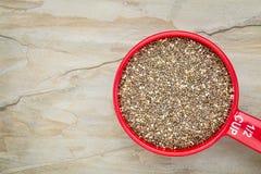 Tazza di misurazione del seme di Chia Fotografie Stock Libere da Diritti