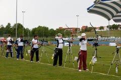 Tazza di mondo di tiro all'arco, 4 maggio 2010 in Porec, Croatia Fotografia Stock Libera da Diritti
