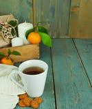 Tazza di Natale di tè con i biscotti, i regali, le candele ed i mandarini Fotografia Stock