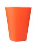 Tazza di plastica rossa isolata su bianco Fotografia Stock Libera da Diritti