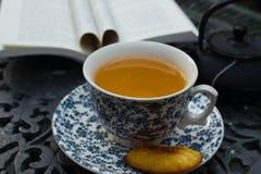 Tazza di rilassamento del tè verde di jazmin al portico Cuppa della porcellana fotografia stock