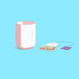 Tazza di tè astratta con la bustina di tè. Fotografia Stock Libera da Diritti
