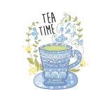 Tazza di tè blu Fotografia Stock Libera da Diritti