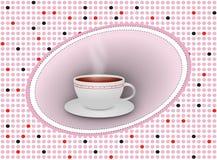 Tazza di tè calda con il piattino su fondo punteggiato Immagine Stock