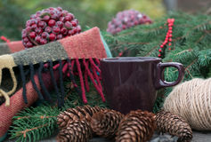 Tazza di tè caldo su una tavola di legno rustica Fotografia Stock