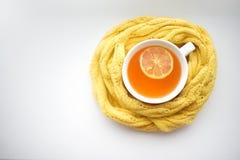Tazza di tè caldo in una sciarpa su un davanzale della finestra ad una finestra fotografia stock libera da diritti