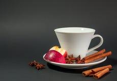 Tazza di tè con cannella, anice e la mela Fotografia Stock