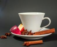 Tazza di tè con cannella, anice e la mela Fotografie Stock Libere da Diritti