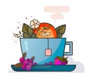 Tazza di tè con i frutti e l'arte di vettore dei fiori illustrazione vettoriale