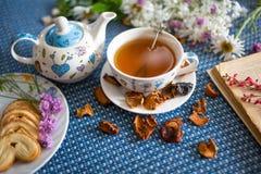 Tazza di tè con il libro ed il fiore Fotografia Stock Libera da Diritti