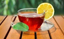 Tazza di tè con il limone e la menta fotografia stock