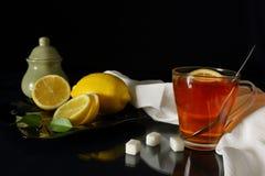 Tazza di tè con il limone e lo zucchero Fotografia Stock Libera da Diritti