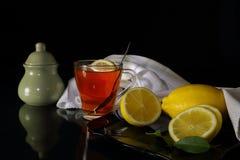 Tazza di tè con il limone e lo zucchero Immagini Stock Libere da Diritti