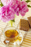 Tazza di tè con il pan di Spagna Immagine Stock Libera da Diritti