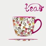 Tazza di tè con il reticolo illustrazione di stock