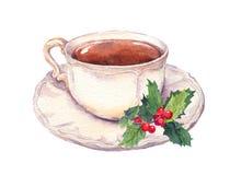 Tazza di tè con il vischio di natale watercolor Fotografia Stock