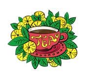 Tazza di tè con le foglie ed il limone Fotografie Stock