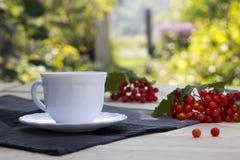 Tazza di tè con una palla di neve su una tavola Immagine Stock