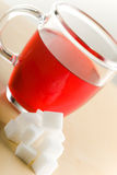 Tazza di tè con zucchero Fotografia Stock Libera da Diritti